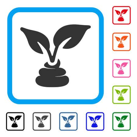 Garden natural fertilizer icon. Flat grey iconic symbol inside a blue rounded rectangular frame. Black, gray, green, blue, red, pink color variants of garden natural fertilizer vector.