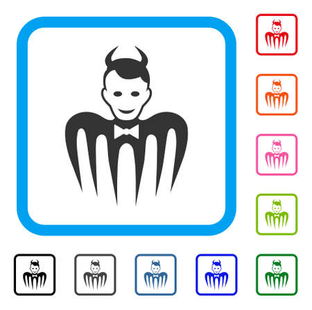 Gentleman spectre devil icon. Flat grey iconic symbol inside a blue rounded square. Black, gray, green, blue, red, pink color variants of gentleman spectre devil vector.