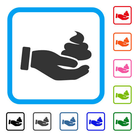 Hand offer shit icon. Flat grey iconic symbol inside a blue rounded rectangular frame. Black, grey, green, blue, red, orange color variants of hand offer shit vector. Ilustração