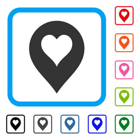 Heart casino marker icon. Flat gray iconic symbol inside a blue rounded square. Black, gray, green, blue, red, pink color variants of heart casino marker vector. Иллюстрация