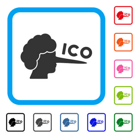 Ico lier icon. Flat gray iconic symbol inside a blue rounded frame. Black, grey, green, blue, red, pink color additional versions of ICO lier vector. Designed for web and application interfaces.