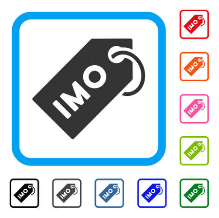 Imo tag icon. Flat gray pictogram symbol inside a blue rounded frame. Black, grey, green, blue, red, orange color variants of imo tag vector. Designed for web and software UI.