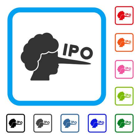 Ipo lier plat grijs pictogram symboolpictogram in een kleurrijk afgerond rechthoekig kader. Stock Illustratie
