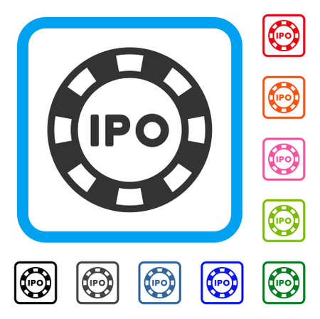Ipo token icon. Flat gray iconic symbol in a blue rounded rectangular frame. Black, gray, green, blue, red, pink color versions of ipo token vector. Designed for web and application UI. Illustration
