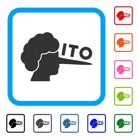 Ito lier icon. Flat grey pictogram symbol in a blue rounded rectangle. Black, gray, green, blue, red, pink color additional versions of ITO lier vector. Designed for web and application UI.