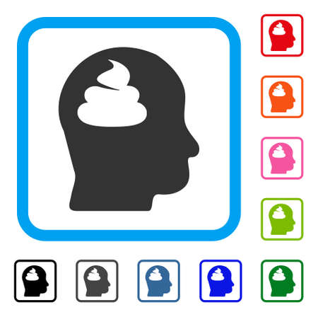 Brain flat gray pictogram symbol icon in a colorful rounded rectangular frame.