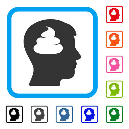 Shit brains head icon. Flat gray iconic symbol in a blue rounded rectangular frame. Black, grey, green, blue, red, pink color versions of shit brains head vector. Illustration