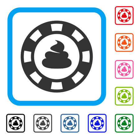 Shit casino chip icon. Flat gray pictogram symbol in a blue rounded squared frame. Black, grey, green, blue, red, orange color variants of shit casino chip vector.