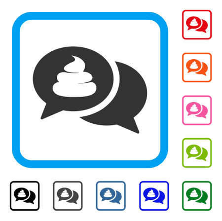 Bubble flat grey pictogram chat icon in a colorful rounded rectangular frame.