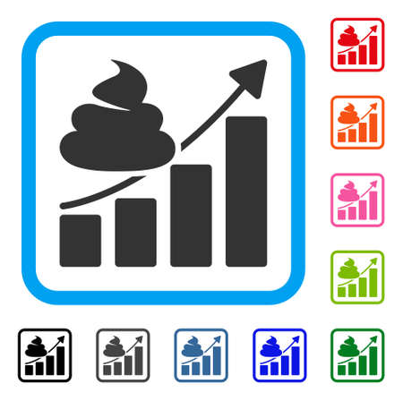 Growing Chart flat grey pictogram symbol icon in a colorful rounded rectangular frame.