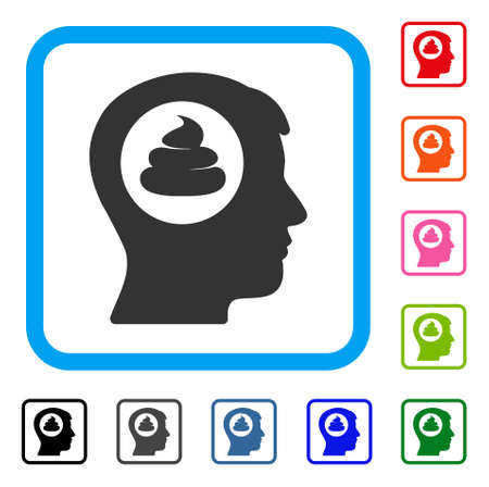 Man Head with dirty idea flat grey pictogram concept icon in a colorful rounded rectangular frame.