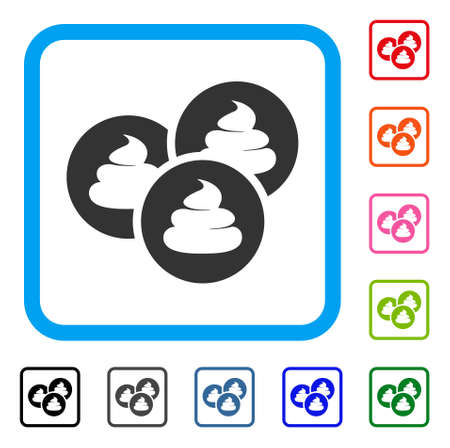 Poop coins icon. Flat gray pictogram symbol in a blue rounded frame. Black, grey, green, blue, red, orange color variants of poop coins vector. Designed for web and app user interface. Vectores
