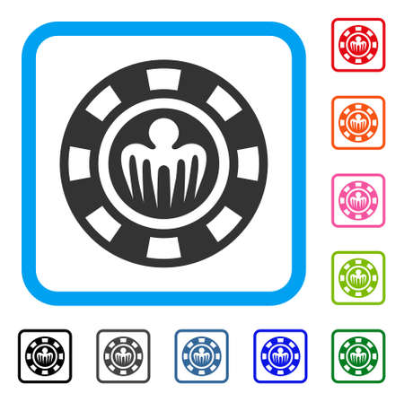 Icona di spettro Casino Chip. Simbolo di pittogramma grigio piatto all'interno di una cornice rettangolare arrotondata blu. Versioni di colore nero, grigio, verde, blu, rosso, arancione del vettore di chip casinò spettro.
