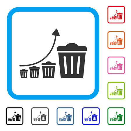 Trash Growing Trend icon. Flat grey pictogram symbol in a blue rounded square. Black, gray, green, blue, red, orange color additional versions of trash growing trend vector.