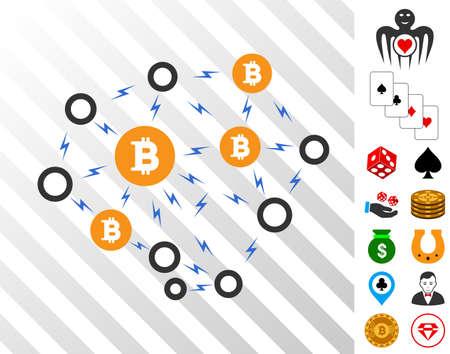 Bitcoin Lightning Network pictograph with bonus casino symbols. Vector illustration style is flat iconic symbols. Designed for gamble ui.