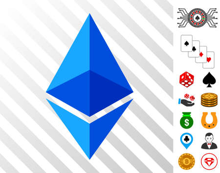 Ethereum Lite pictograph with bonus casino clip art. Vector illustration style is flat iconic symbols. Designed for gambling gui.