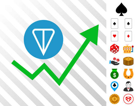 Ton Growing Trend pictograph with bonus gamble design elements. Vector illustration style is flat iconic symbols. Designed for gambling gui.