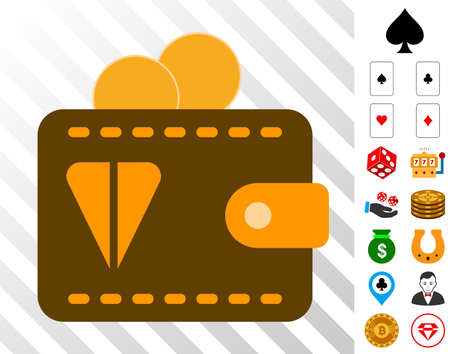 Ton Wallet icon with bonus gamble pictograms. Vector illustration style is flat iconic symbols. Designed for casino websites.