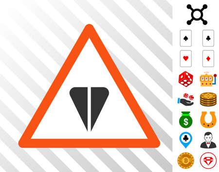 Ton Warning icon with bonus casino clip art. Vector illustration style is flat iconic symbols. Designed for gamble software.