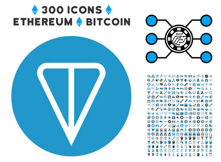 Ton Currency icon with 3 hundred bonus ethereum clip art. Vector illustration style is flat iconic symbols designed for cryptocurrency apps. Çizim