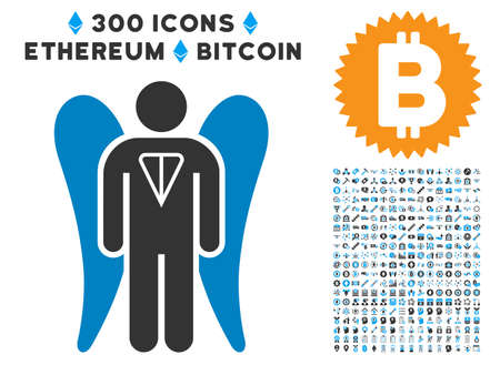 Ton Angel Investor icon with 3 hundred additional bitcoin graphic icons. Vector illustration style is flat iconic symbols designed for cryptocurrency trading software.