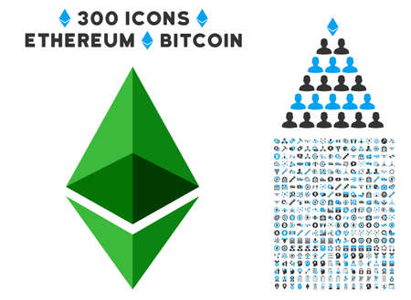 Ethereum Crystal pictograph with 3 hundred bonus bitcoin mining design elements. Vector illustration style is flat iconic symbols designed for cryptocurrency software.