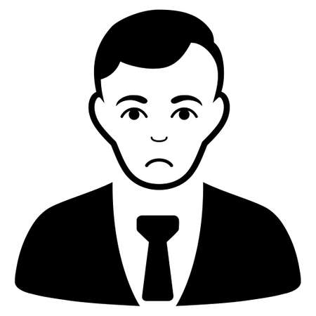Sadly Businessman vector pictograph. Style is flat graphic black symbol with mourning emotions.