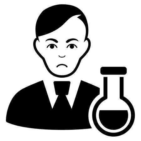 Pitiful Chemist vector pictogram. Style is flat graphic black symbol with sadly emotion.