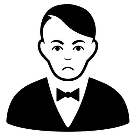 Sadly Dealer vector pictogram. Style is flat graphic black symbol with depressed emotions.