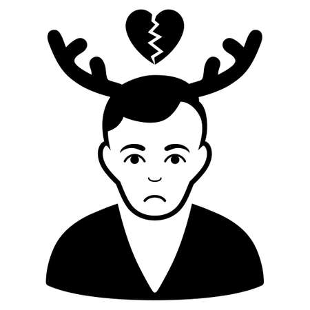 Unhappy Deceived Horned Husband vector pictogram. Style is flat graphic black symbol with sad emotion.
