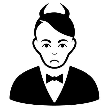 Unhappy Devil vector pictograph. Style is flat graphic black symbol with sorrow emotion. Illustration