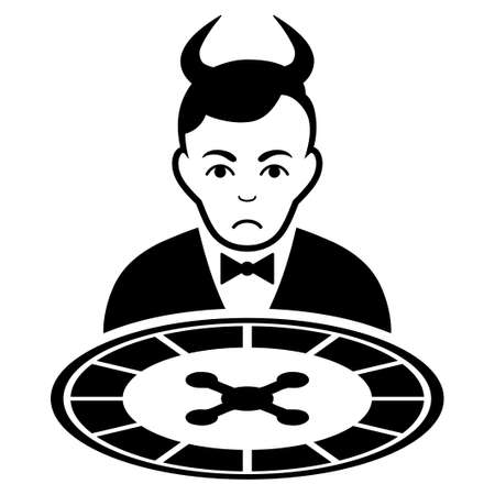 Unhappy Devil Roulette Dealer vector icon. Style is flat graphic black symbol with sadness feeling.