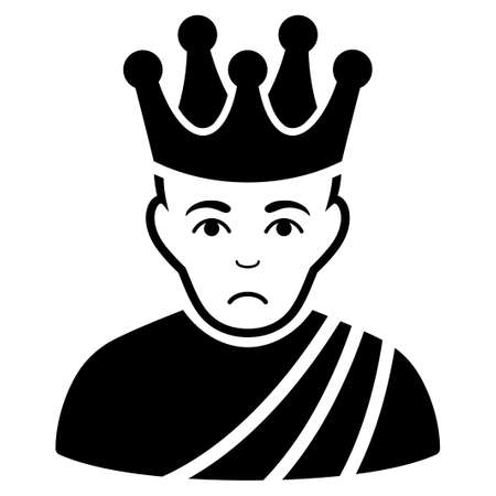 Sad Emperor vector pictograph. Style is flat graphic black symbol with sad feeling. Illustration