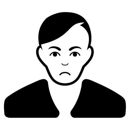 Sadly Guy vector icon. Style is flat graphic black symbol with problem feeling. Illustration