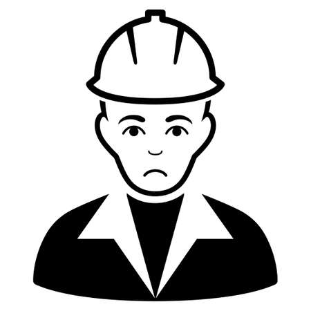 Sad Engineer vector icon. Style is flat graphic black symbol with pitiful emotions.