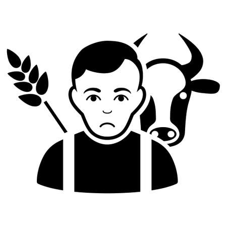 Sad Farmer vector pictogram. Style is flat graphic black symbol with problem emotions.