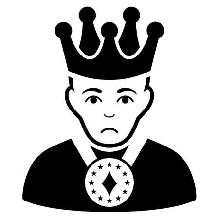 Dolor King vector icon. Style is flat graphic black symbol with stress sentiment.