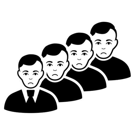 Sadly Men Queue vector pictograph. Style is flat graphic black symbol with stress emotion.