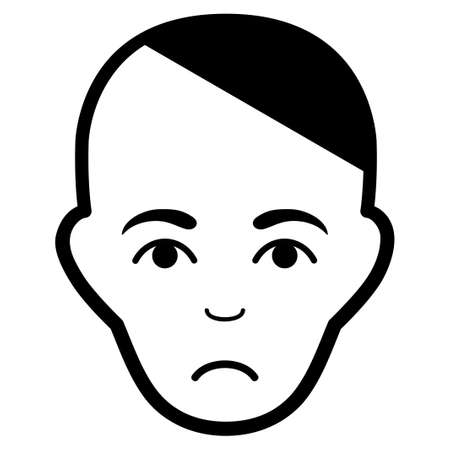 Sadly Patient Head vector pictograph. Style is flat graphic black symbol with depressed emotion.