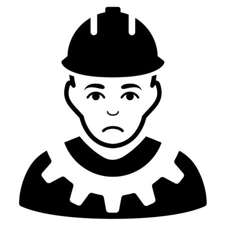 Sadly Serviceman vector icon. Style is flat graphic black symbol with problem feeling.