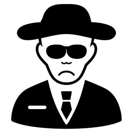 Sad Spy vector icon. Style is flat graphic black symbol with desperate emotion. Illustration