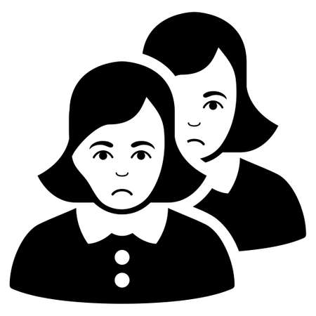 Sad Women vector pictograph. Style is flat graphic black symbol with problem sentiment. Illustration