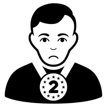 Unhappy 2nd Prizer Sportsman vector pictogram. Style is flat graphic black symbol with grief expression. Illustration