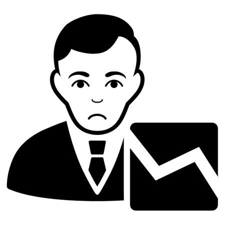 Sad Stock Trader vector pictograph. Style is flat graphic black symbol with sadly sentiment.