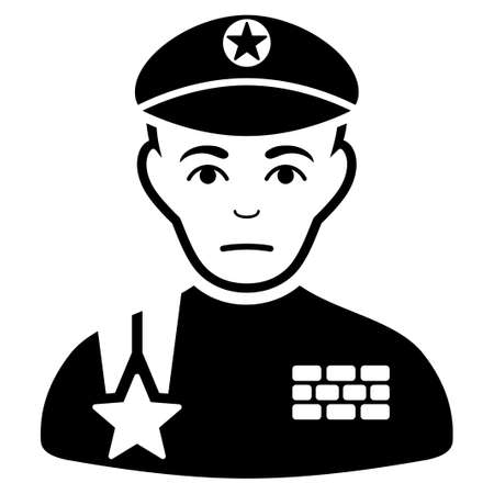 Sad Army General vector pictogram. Style is flat graphic black symbol with sorrow mood. Vettoriali
