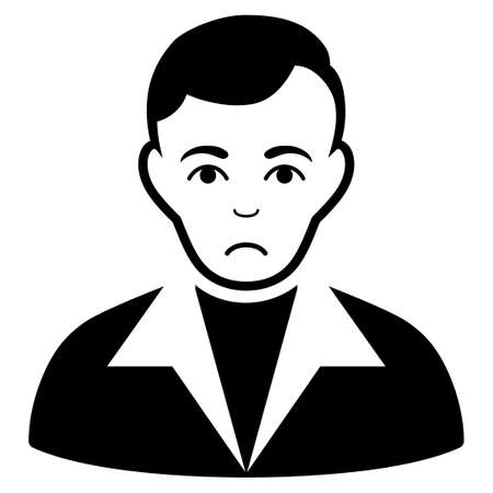 Pitiful Guy vector pictograph. Style is flat graphic black symbol with dolor mood.