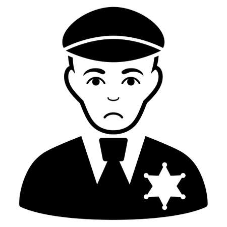 Pitiful sheriff vector pictograph. Style is flat graphic black symbol with sadly mood.