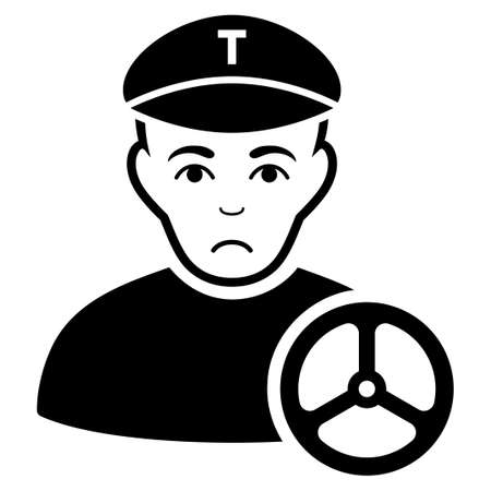 Unhappy taxi driver vector icon. Style is flat graphic black symbol with dolor expression.