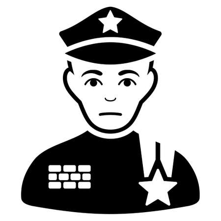Dolor Army General vector pictogram. Style is flat graphic black symbol with dolour feeling.