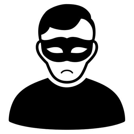 Unhappy Anonymous Person vector pictograph. Style is flat graphic black symbol with mourning emotion.